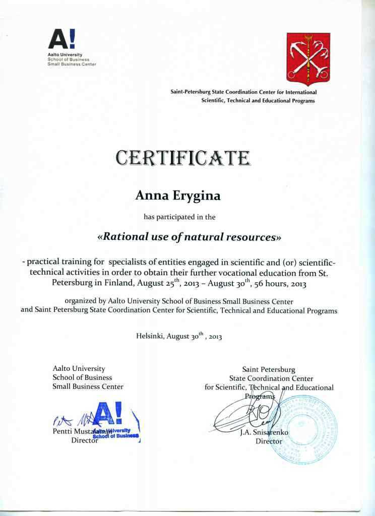 Сертификат А 1